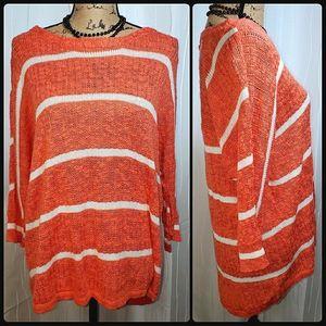 Sonoma Scoop Neck Striped Sweater in Coral White